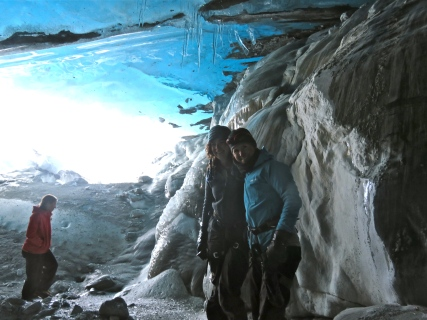 Inside the ice cave - not the best photo, but such a cool experience!